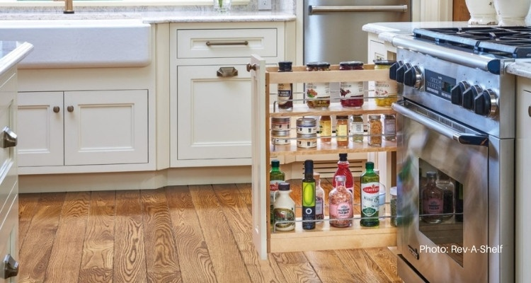 Pull Out Spice Rack By The Stove, Spice Racks For Kitchen Cabinets Pull Out